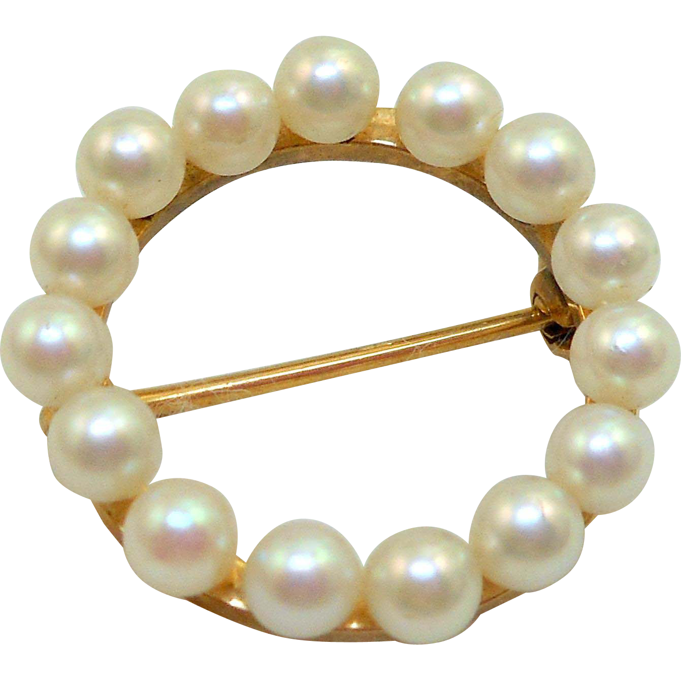 14K Gold Pearl Circle Pin