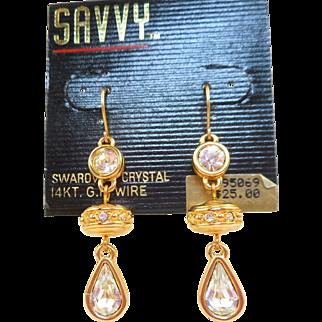 NOS Swarovski Savvy Dangle Earrings - MOC