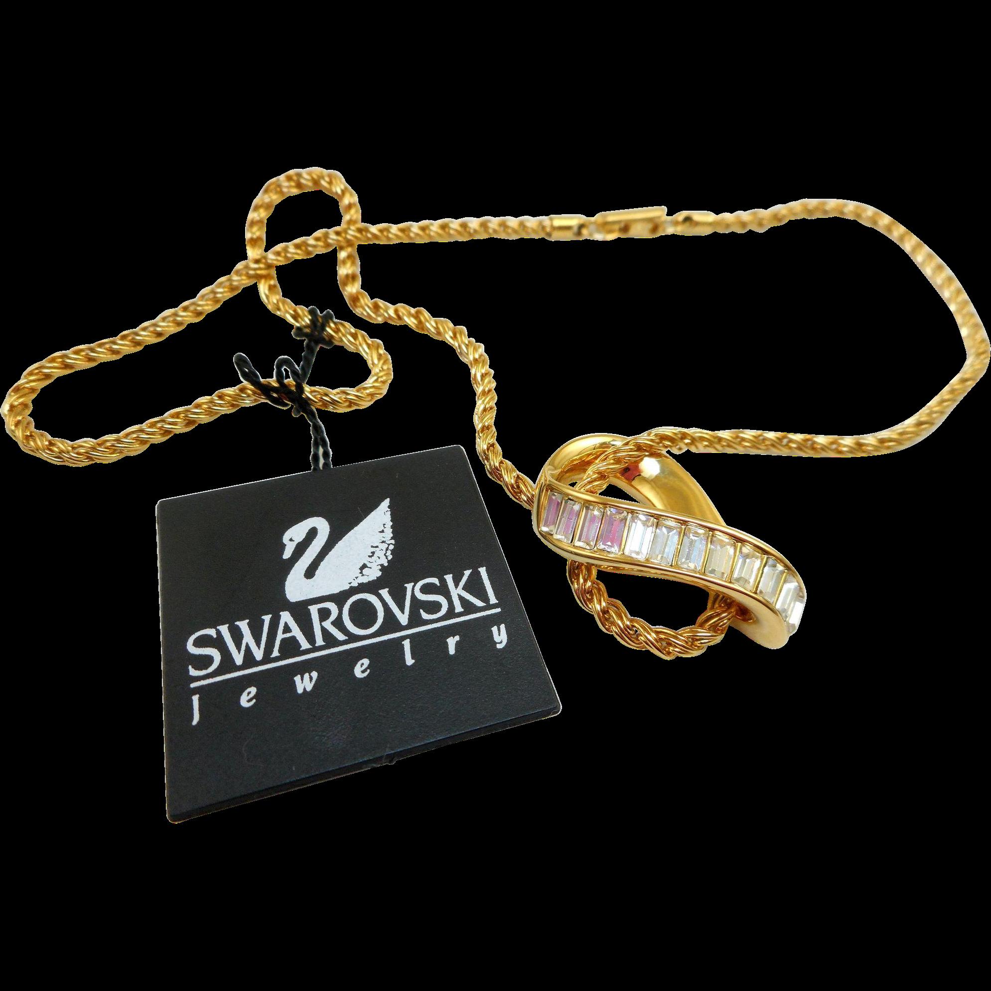NOS Swarovski Baguette Rhinestone Pendant Necklace - MWT