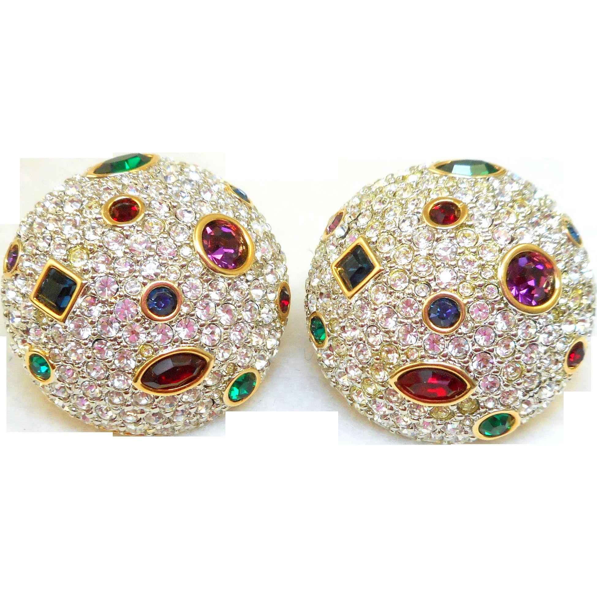 NOS Swarovski Domed Clip Earrings - MOC