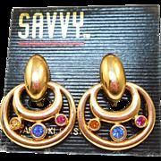 Swarovski Savvy Door Knocker Earrings - NOS
