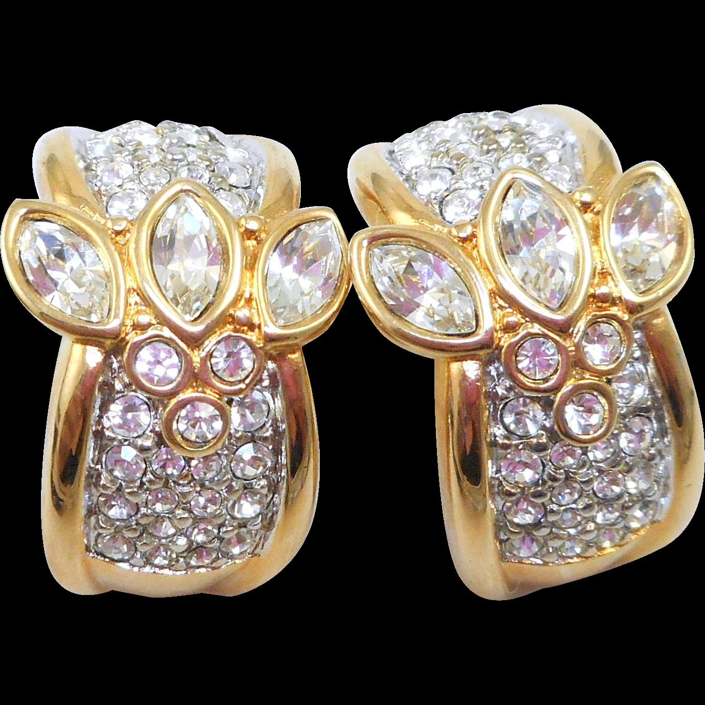 NOS Swarovski Rhinestone Earrings - MOC