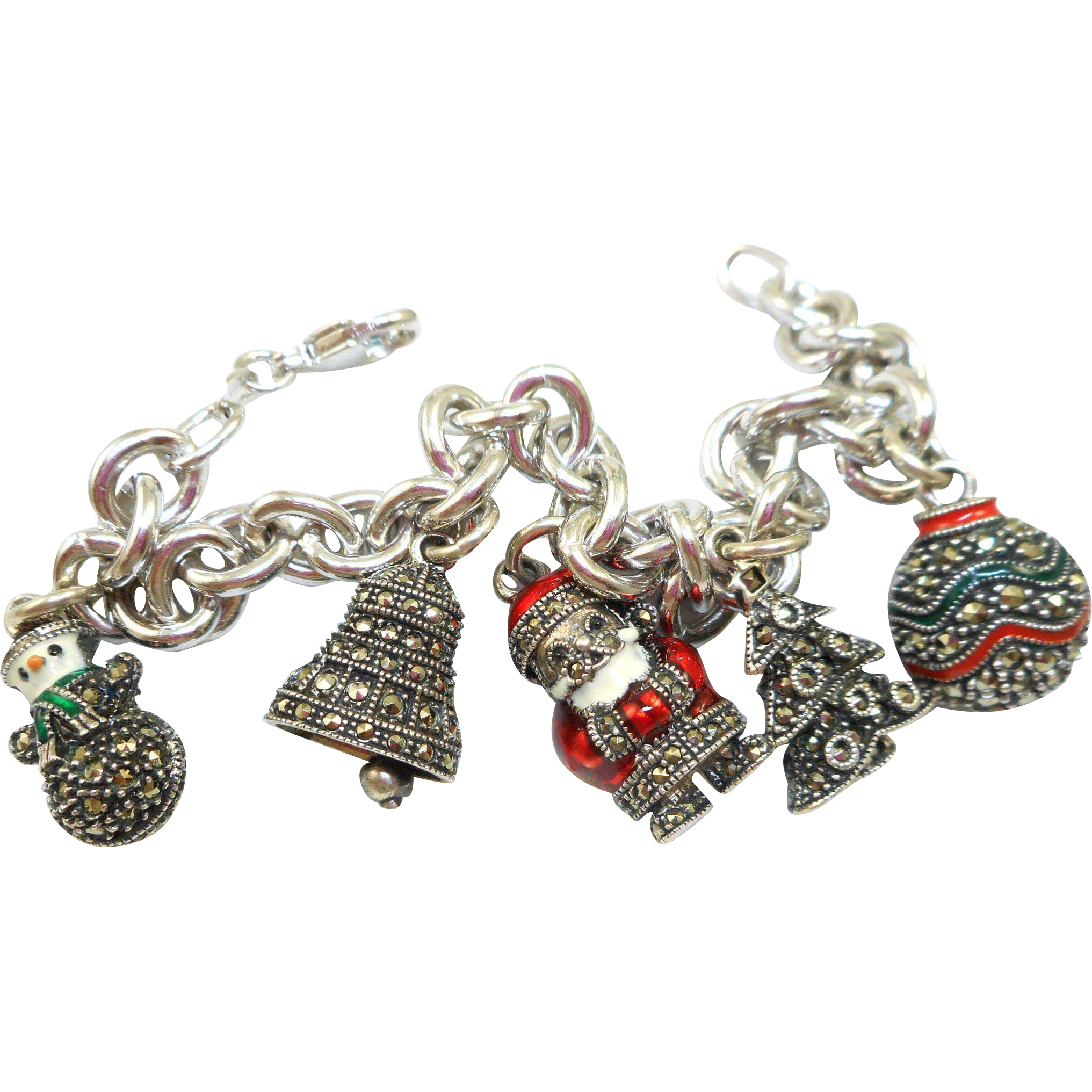 Judith Jack Sterling Marcasite Christmas Charm Bracelet