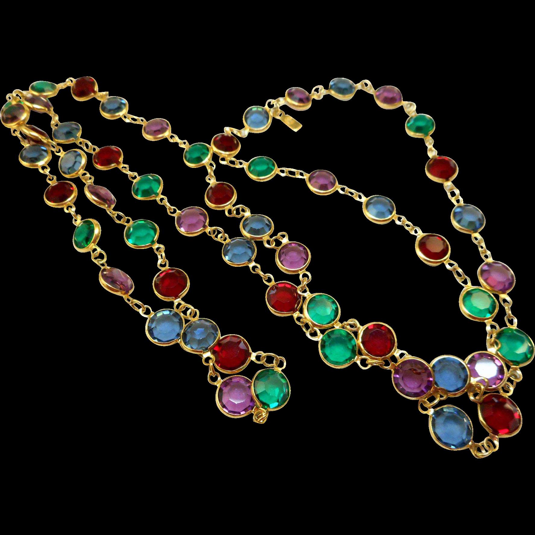 NOS Swarovski Necklace in Jewel Tones
