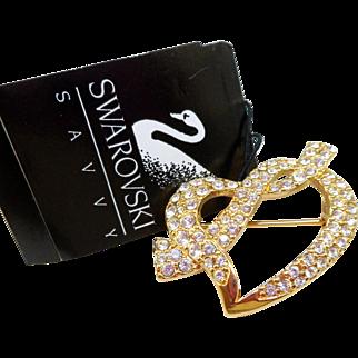 NOS Swarovski Savvy Heart Pin