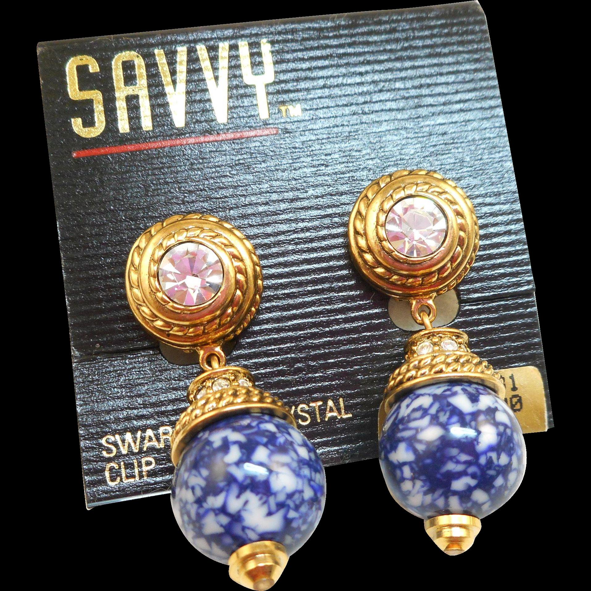 NOS Swarovski Savvy Speckled Blue Earrings - MOC
