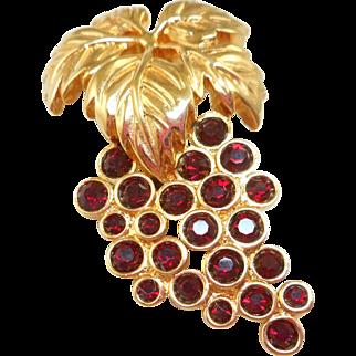 Swarovski Red Grapes Pin
