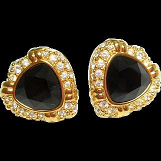 NOS Swarovski Black Rhinestone Clip Earrings - MOC