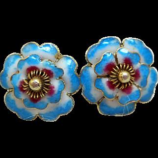Enameled Flower Earrings