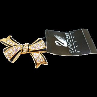 NOS Swarovski Bow Pin - MWT