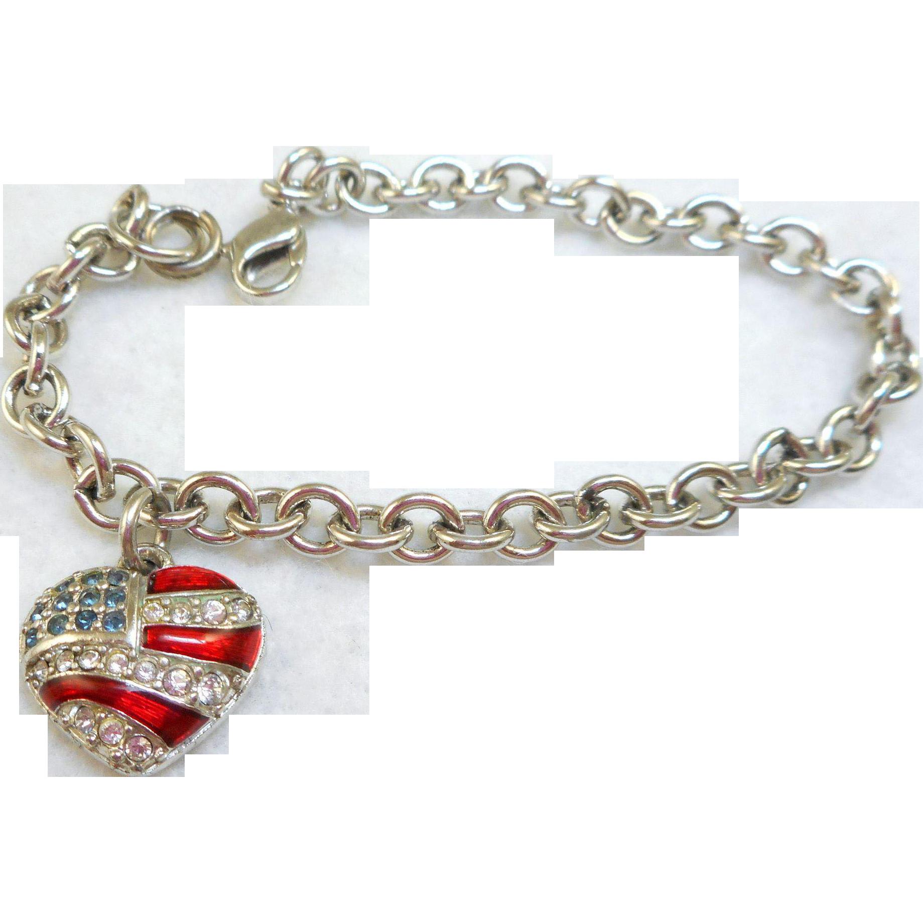 Swarovski Flag Heart Charm Bracelet