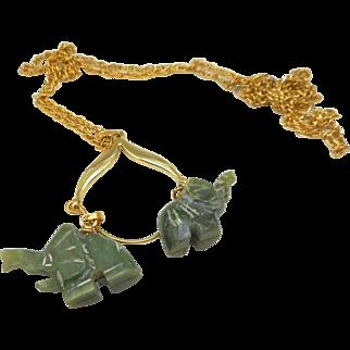 2 Jade Elephants Charm Holder Necklace