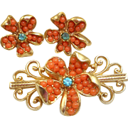 Coral Pin Earrings Set