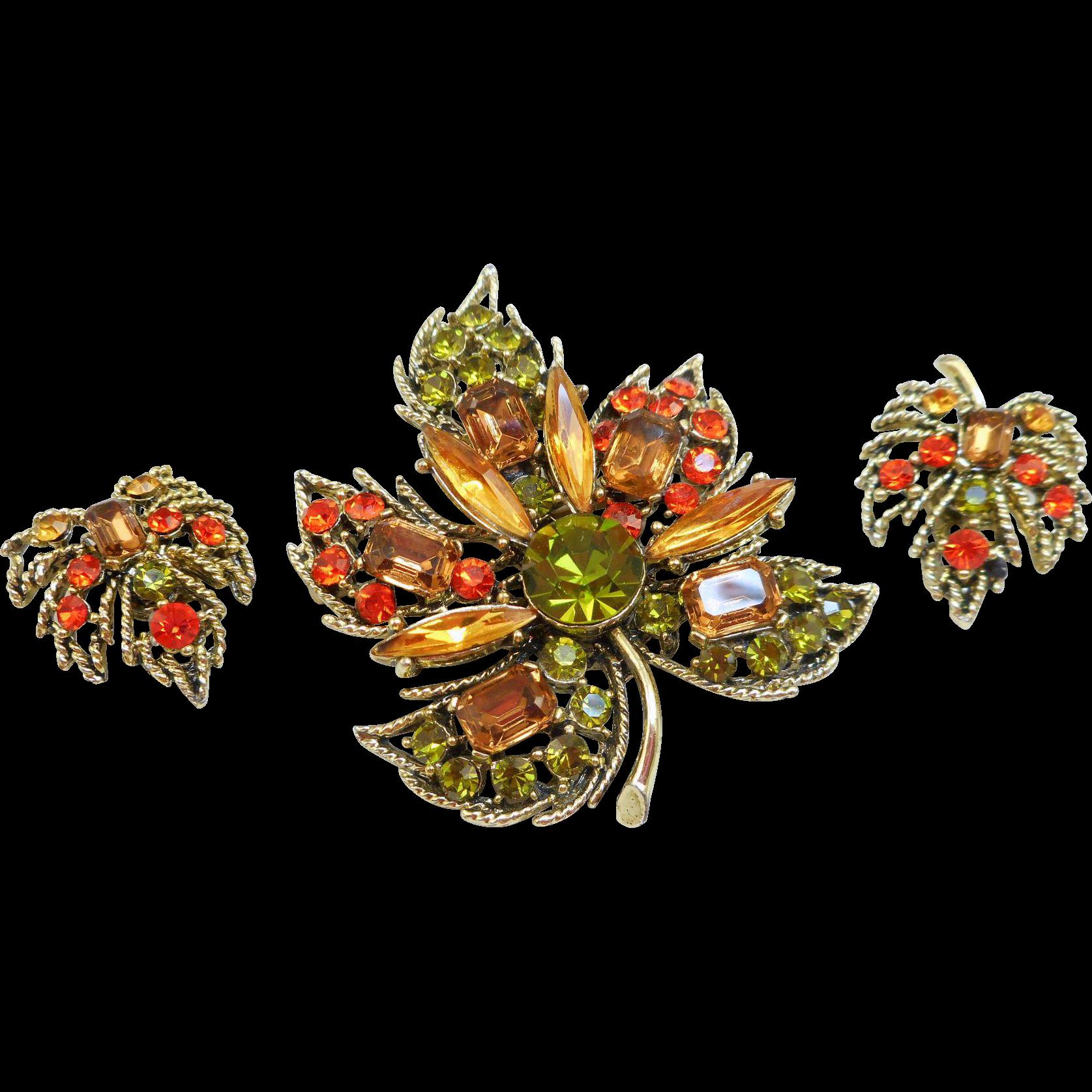 Fall Leaf Pin Earrings Set