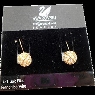 NOS Swarovski Rhinestone Wire Earrings - MOC