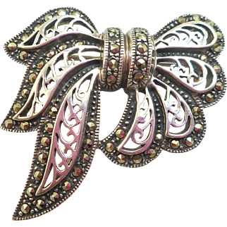 Sterling Marcasite Bow Pin