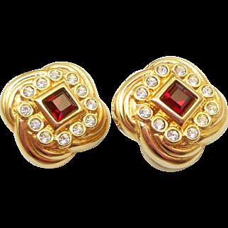 Authentic Swarovski Red Earrings