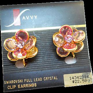 NOS Swarovski Savvy Pink Lilac Earrings - MOC