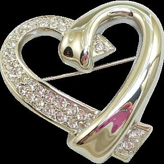 Swarovski Silver Heart Pin