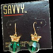 NOS Swarovski Savvy Green Crystal Earrings -MOC