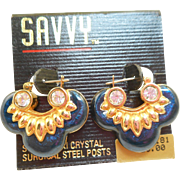 NOS Swarovski Savvy Dark Blue Earrings - MOC
