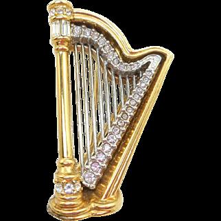 Swarovski Harp Pin - Vintage