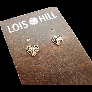 NOS Lois Hill Heart Post Earrings - MOC