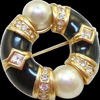 Swarovski Black Enamel Pearl Circle Pin
