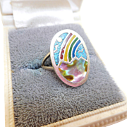 Sterling Inlaid Rainbow Ring
