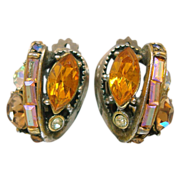 Hollycraft Orange Rhinestone Earrings