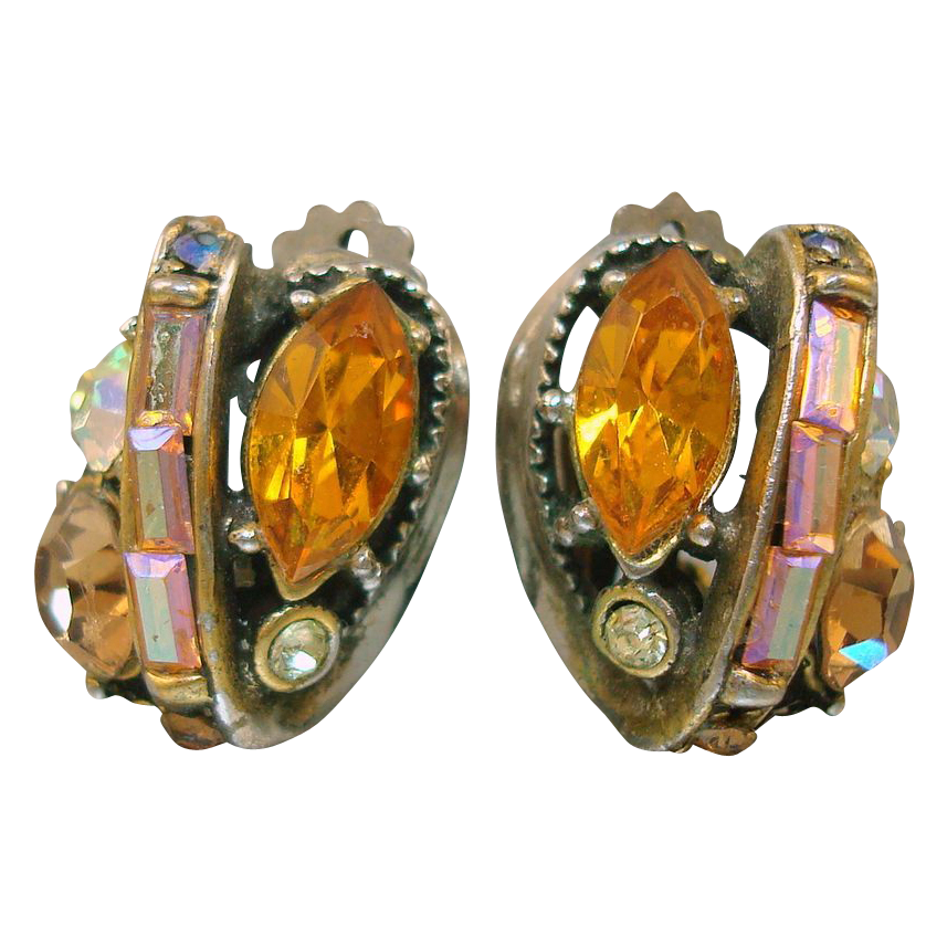 Hollycraft Orange Rhinestone Earrings