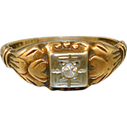 Art Deco 10K Gold Diamond Ring