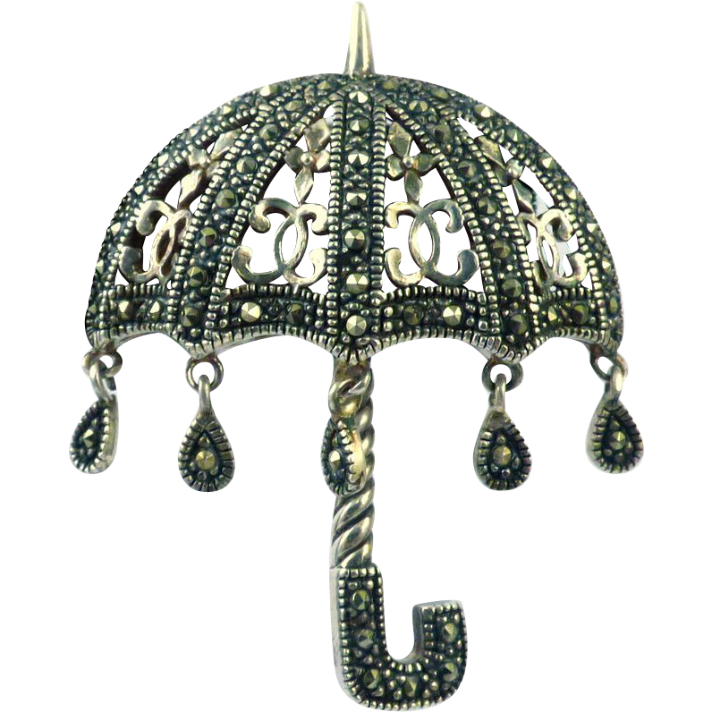 Sterling Marcasite Umbrella Brooch