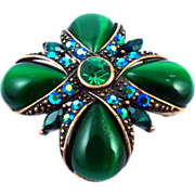 Monet Green Cat Eye Pin