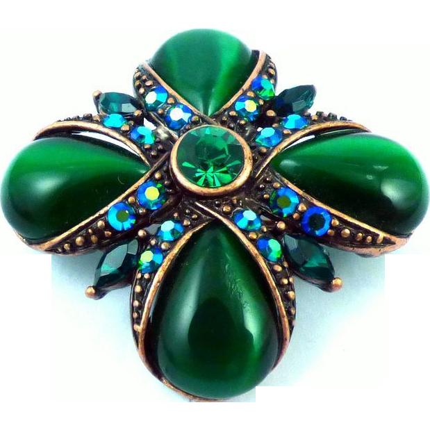 Monet Green Cat Eye Pin