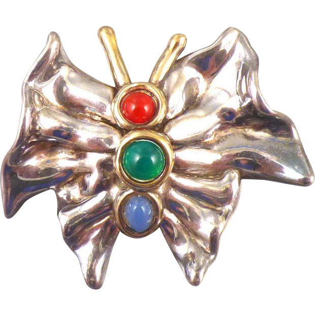 Jewelled Sterling Butterfly Pin/Pendant