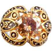 Chunky Light Topaz Rhinestone Ring