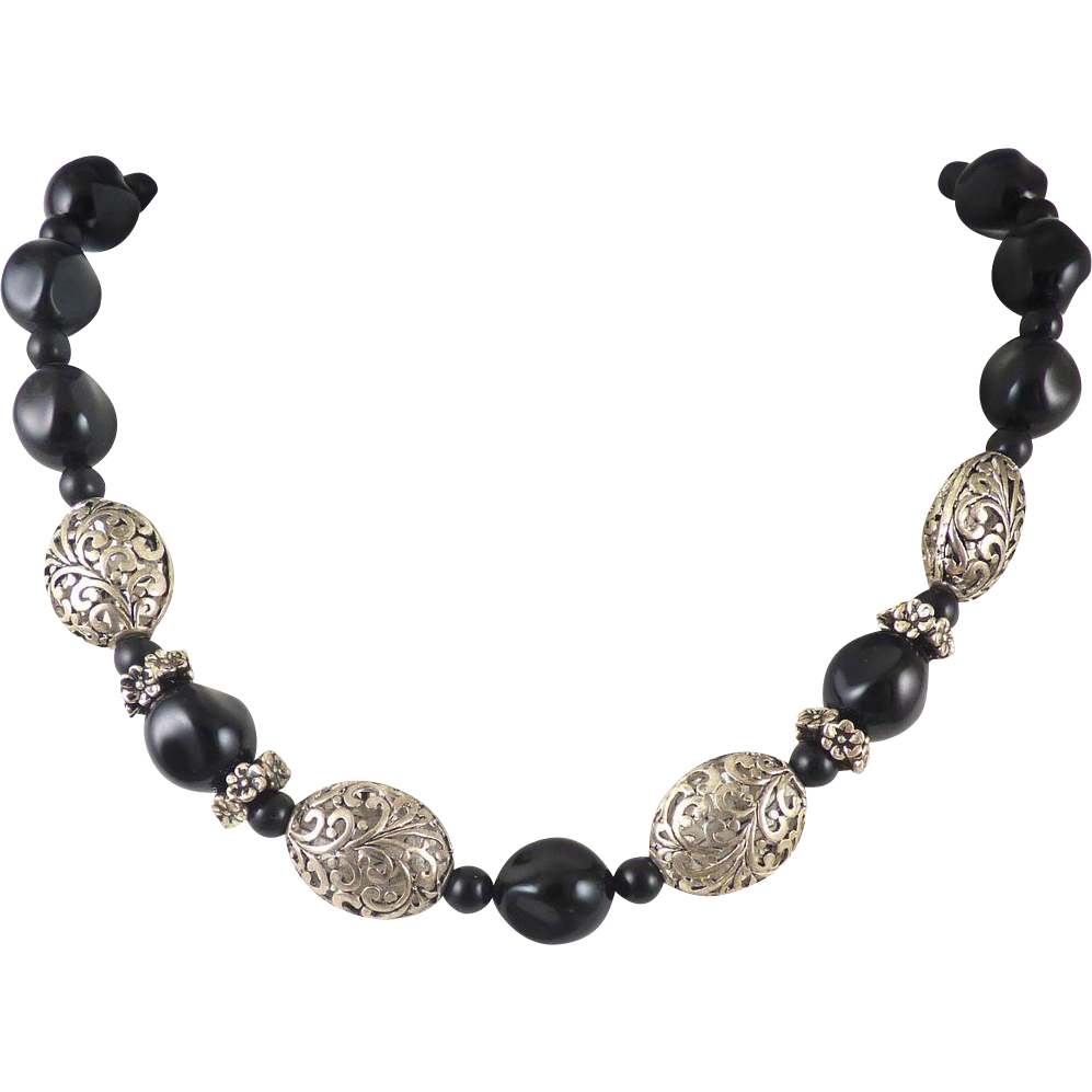 Black Silver Filigree Bead Necklace