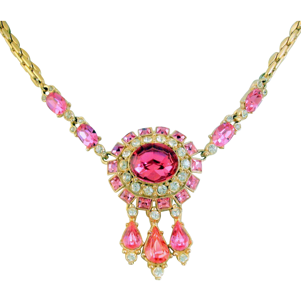 ORA Pink Rhinestone Necklace