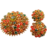 Orange Green Rhinestone Brooch/Earrings