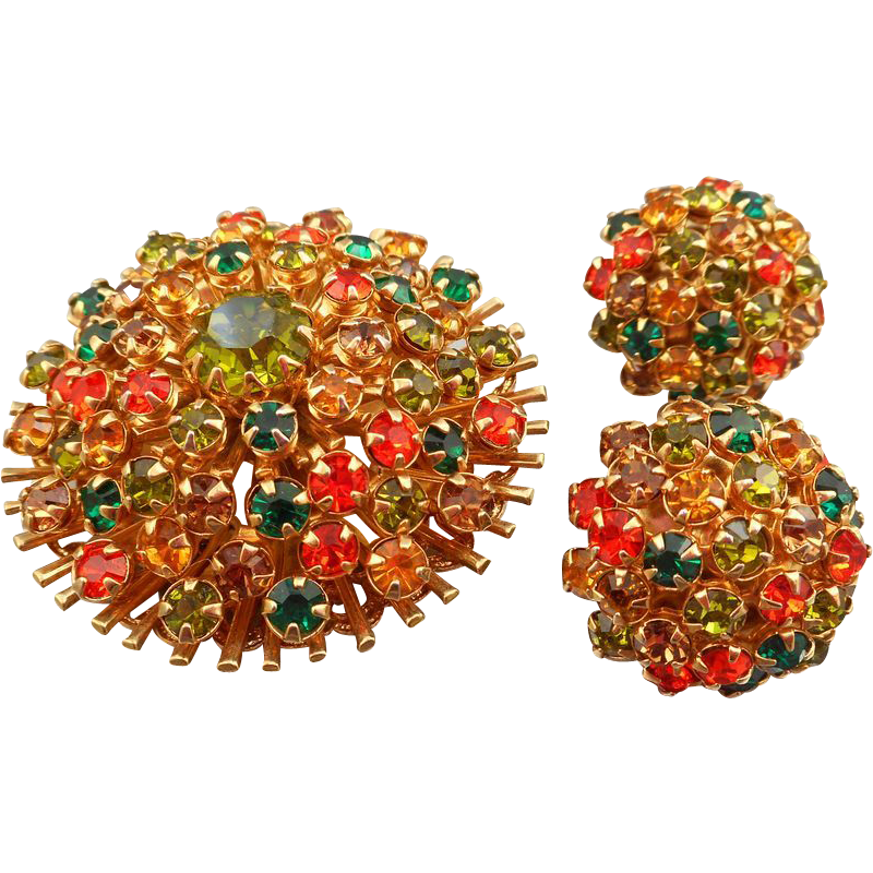 Fall Colors Rhinestone Brooch/Earrings