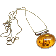 Sterling Baltic Amber Pendant Necklace - Poland