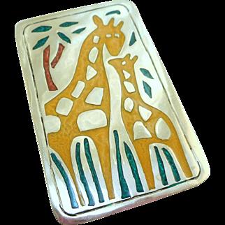 Alpaca Silver Giraffe Pin