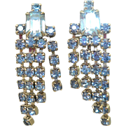 Blue Rhinestone Waterfall Earrings