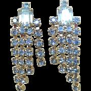 Blue Rhinestone Waterfall Earrings