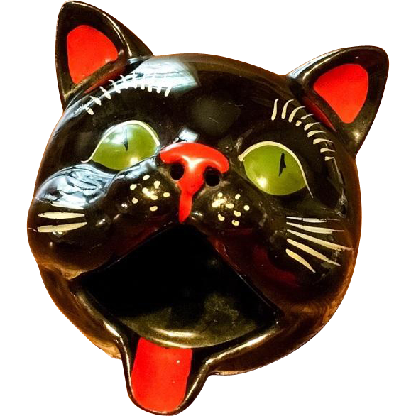 Vintage Black Cat Smoker Ashtray