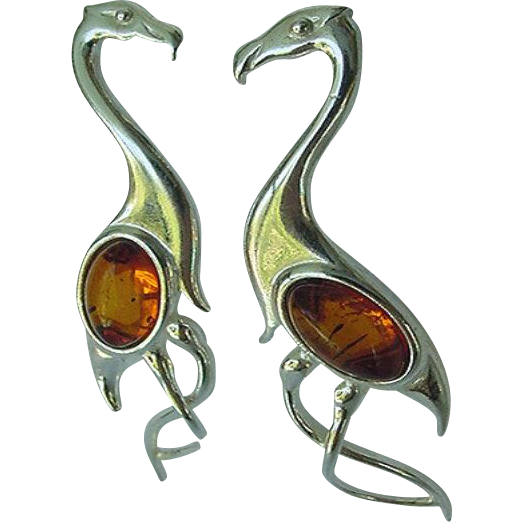 Vintage Sterling Silver Amber Flamingo Earrings