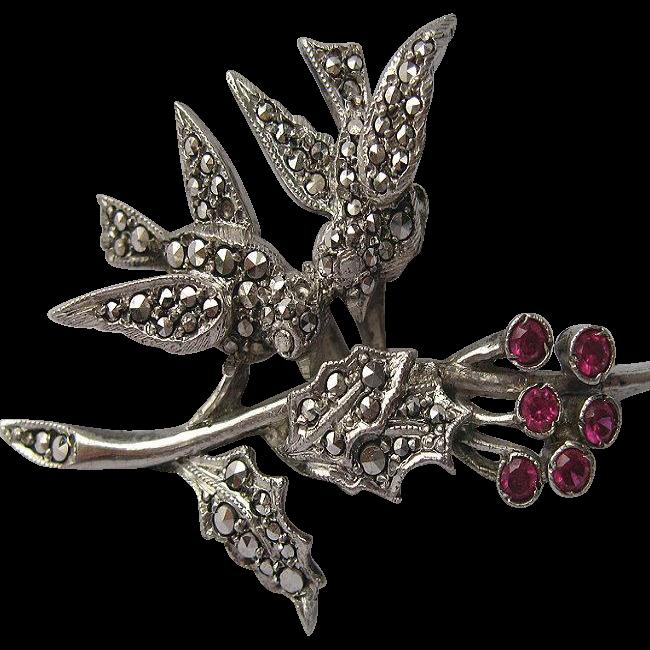 Vintage Sterling Marcasite Garnet Lovebird Pin
