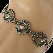 Victorian Sterling Silver Bird in Wreath Bracelet
