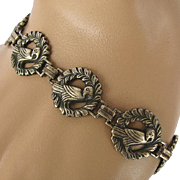 Victorian Sterling Silver Bird in Wreath Bracelet